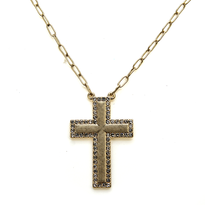 Necklace 575b 10 Avec chain cross necklace rhinestones gold