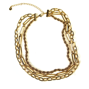 Necklace 623b 10 Avec three layer chain necklace gold