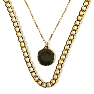 Necklace 117b 10 Avec chain necklace dual layer gold