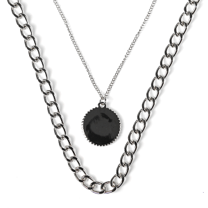 Necklace 147b 10 Avec chain necklace dual layer silver