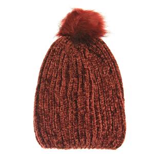 Winter Cap 001a 03 Justin&Taylor Ribbed Beanie Pom Pom burgundy