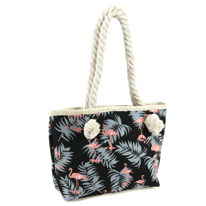 JT 11170045Y kids canvas tote bag flamingo black