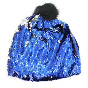 Winter Cap 097a sequin front royal blue