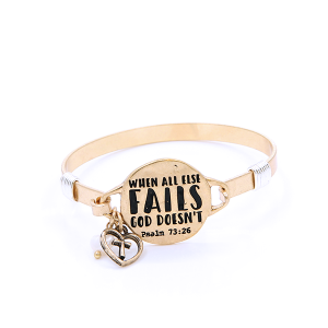 (Bracelet 139a 12 Tipi) Psalm 73:26 God Doesn't Gold