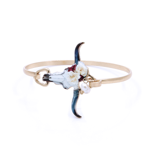 (Bracelet 347a 12 Tipi) longhorn floral extra long bangle gold