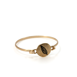 Bracelet 008e 12 Tipi leaf bangle gold