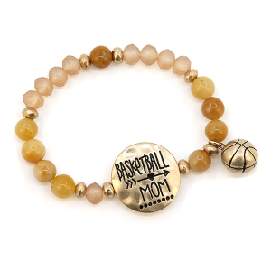Bracelet 249d 12 Tipi Basketball Mom charm bead stretch gold