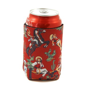 Drink Sleeve 130a 12 Tipi cactus cowgirl red