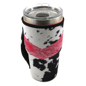 Tumbler Sleeve 109 12 Tipi cow hide chevron pink