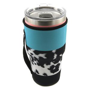 Tumbler Sleeve 110 12 Tipi cow hide stripe turquoise