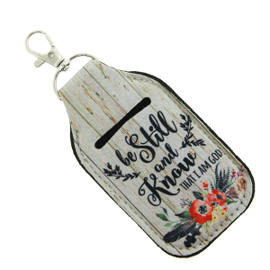 Hand Sanitizer Keychain 008b 12 Tipi floral wooden be still and know that I am god