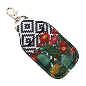 Hand Sanitizer Keychain Pouch 106 geometric cactus