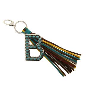 Keychain 082b 12 Tipi western fringe initial B