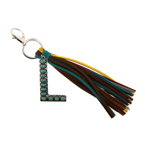 Keychain 073a 12 Tipi western fringe initial L
