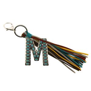Keychain 084f 12 Tipi western fringe initial M