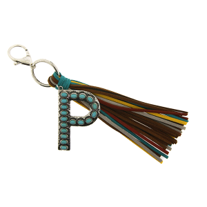 Keychain 029h 12 Tipi western fringe initial P