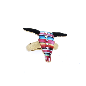 ring 013 12 Tipi longhorn multi stripe crystal gold