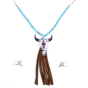 neck 1235A 12 Tipi Beaded Longhorn Tassle Silver Turquoise