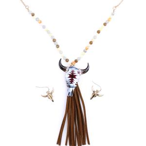 neck 1286A 12 Tipi Beaded Longhorn Tassle Gold Beige