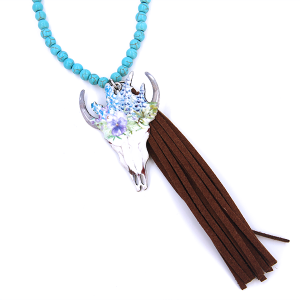 Necklace 154q 12 Tipi bead tassel floral longhorn purple white turquoise