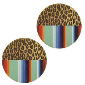 Car Coaster 047a 12 Tipi serape leopard multi