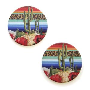 Car Coaster 044 12 Tipi serape leopard cactus