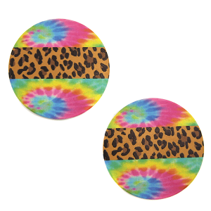 Car Coaster 025a 12 Tipi leopard tie dye multi