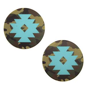 Car Coaster 001b 12 Tipi camo geometric turquoise