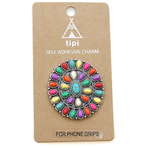 Phone Charm 067 Socket Sticker 12 Tipi stone concho oval multicolor