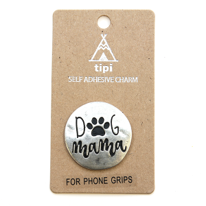 Phone Charm 002c Socket Sticker dog mama silver