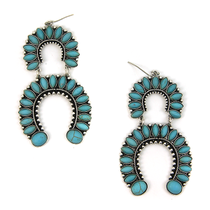 Earring 2423 12 Tipi navajo arc dangle earrings turquoise