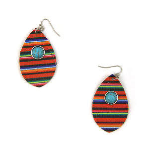 Earring 2472c 12 Tipi tear drop navajo serape leather earrings multicolor