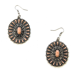 Earring 1527f 12 Tipi Navajo concho earrings coral pink