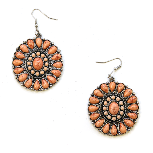 Earring 1561g 12 Tipi Navajo concho earrings coral pink