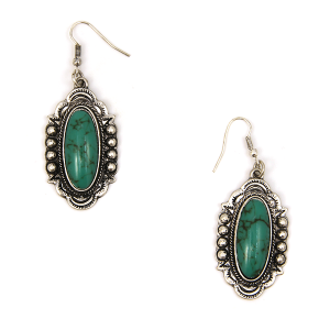 Earring 1349d 12 Tipi navajo ovel gem earrings silver turquoise