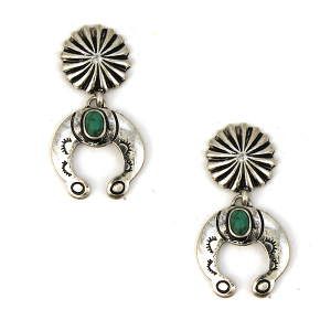 Earring 1355b 12 Tipi navajo stud dangle earrings silver turquoise