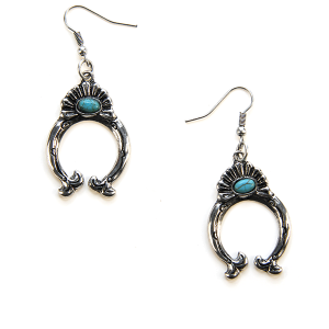 Earring 169b 12 Tipi navajo arc earrings silver turquoise