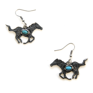 Earring 2892 12 Tipi running horse earrings silver turquoise