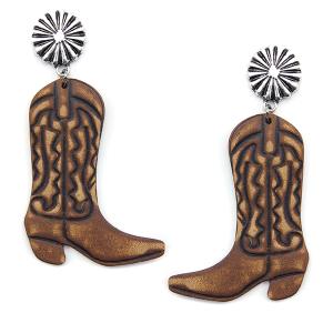 Earring 2379f 12 Tipi leather boots earrings brown