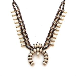 Necklace 1288a 12 Tipi navajo stone necklace copper white