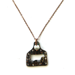 Necklace 742a 12 Tipi rhinestone patina cow necklace