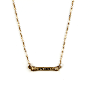 Necklace 868 12 Tipi bar wire dog mama necklace gold
