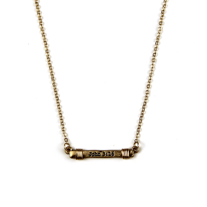 Necklace 961 12 Tipi bar wire John 3:16 necklace gold