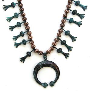 Necklace 766 12 Tipi navajo necklace patina copper