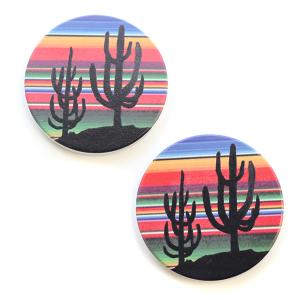 Car Coaster 033 Serape Cactus Silhouette