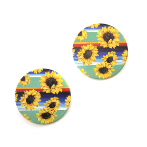 Car Coaster 012a 12 Tipi sunflowers serape