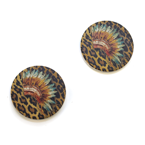 Car Coaster 007d 12 Tipi Leopard Headdress