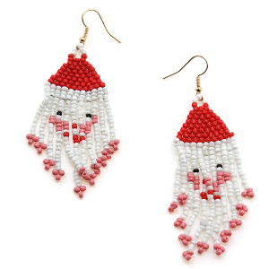 Christmas Earring 076c 71 Viola seed bead tassel santa earrings
