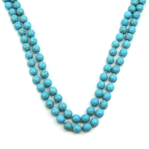 """Necklace 1780 16 Crystal Avenue turquoise stone bead long necklace 48"""""""