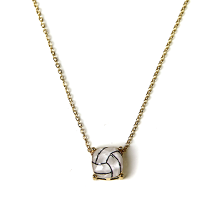 Necklace 1209a 16 Crystal Avenue gem volleyball necklace gold